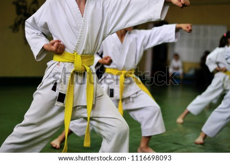 Kids of karate. Training and exam in karate. #1116698093