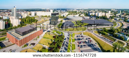 Wide aerial panorama of Katowice city center in Poland #1116747728