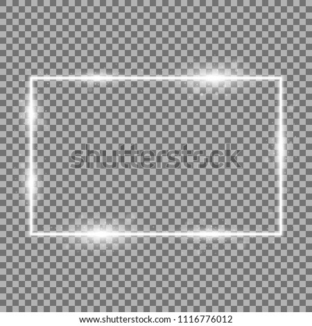 Frame with light effects, laser square with sparks on transparent background, light effect, white color #1116776012