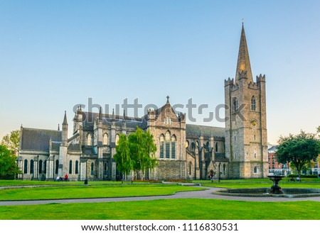 Night view of the St. Patrick's Cathedral in Dublin, Ireland Royalty-Free Stock Photo #1116830531