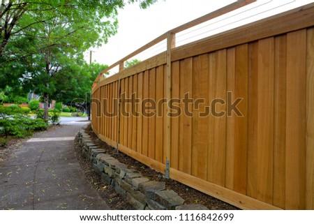 New Cedar Wood Fence around home backyard property landscaping #1116842699