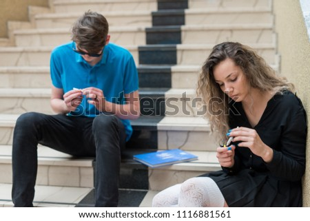 Two highschool friends smoking weed and doing cocain on the school grounds. #1116881561