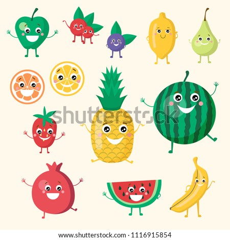 Cute smiling funny fruit vegan collection set. Isolated objects on white background. Apple, pineapple, berries, lemon, orange, strawberry, cherry, watermelon, banana fruits set. #1116915854