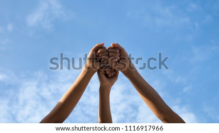 Business teamwork concept on sky background , Selective focus, Vintage tone   #1116917966
