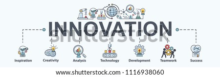 Innovation banner web icon for business, inspiration, research, analysis, Development and science technology. Minimal vector infographic. #1116938060
