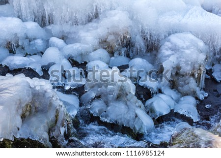Beautiful frozen river close up in Iceland during winter time. #1116985124