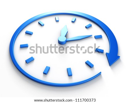 Countdown concept blue clock with arrow around