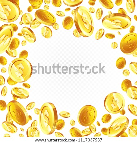 Flying gold coins. illustration, isolated background. #1117037537
