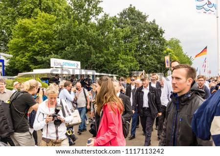 Kiel, Germany - June 16, 2018: Bundespräsident Frank-Walter Steinmeier besucht das Segelschiff Thor Heyerdahl während der Kieler Woche 2018 #1117113242