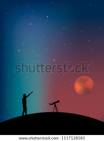 A man with a telescope looks at an unknown planet #1117128581