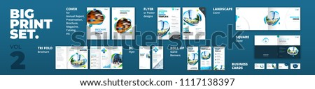 Corporate identity print template set. Business stationery mock-up collection. Royalty-Free Stock Photo #1117138397