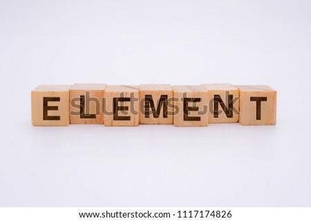 Element Word Written In Wooden Cube #1117174826