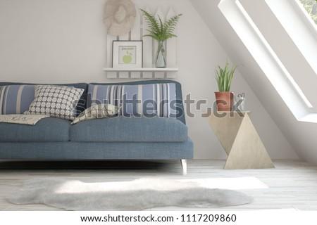 Idea of white minimalist room with sofa. Scandinavian interior design. 3D illustration #1117209860