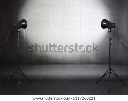 photo studio in old grunge room with concrete wall, urban background #1117260221