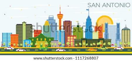 San Antonio Texas Skyline with Color Buildings and Blue Sky. Business Travel and Tourism Concept with Modern Architecture. San Antonio Cityscape with Landmarks.