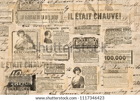 Creative vintage style background. Paper texture. Newspaper strips Royalty-Free Stock Photo #1117346423