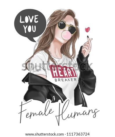 girl in black jacket illustration Royalty-Free Stock Photo #1117363724