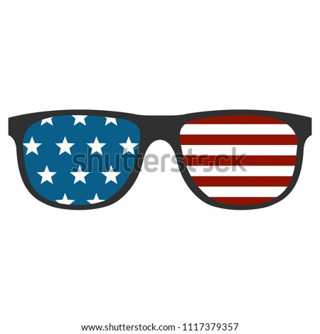 4th of July / US Independence Day clipart - illustration of rectangular glasses with stars and stripes. 4th of July celebration party accessories.