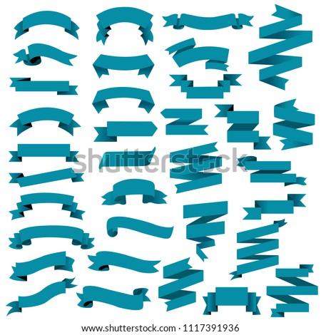 Blue Web Ribbon Big Set, Vector Illustration #1117391936