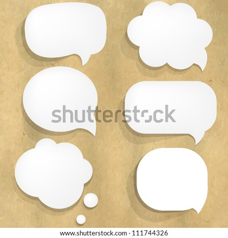 Cardboard Structure With Paper Speech Bubble, Vector Illustration