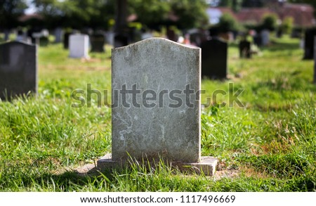 Blank gravestone with other graves and trees in background. Old stone. #1117496669