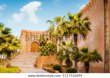 Kasbah of Udayas fortress in Rabat Morocco. Kasbah Udayas is ancient attraction of Rabat Morocco #1117516694