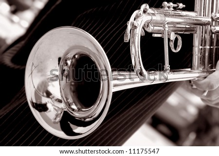 black and white trumpet close up #11175547