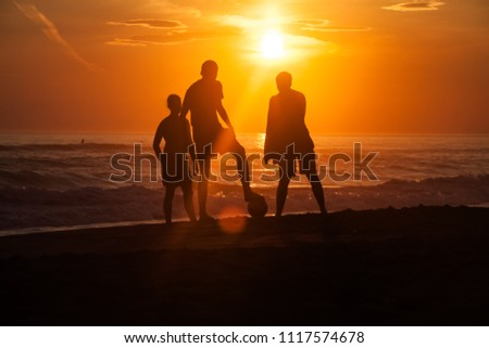 Silhouettes of young group of people playing with the ball at the beach in the sunset #1117574678