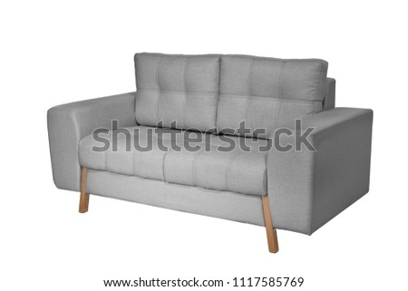 Two seats cozy white fabric sofa isolated on white background #1117585769