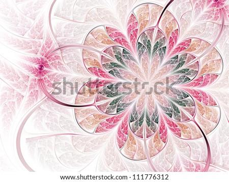 Gentle and soft flower, modern fractal art design #111776312