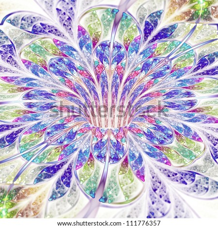 Soft and colorful flower, sparkling fractal art design #111776357