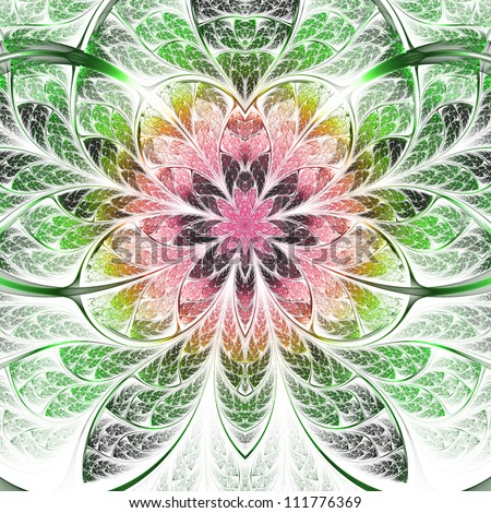 Symmetrical orchid, bright and colorful fractal art design #111776369