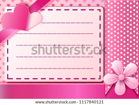Beautiful Heart Falling letter postcard on  pink color Background. Invitation Template Background Design, Greeting Card, paper art style Poster Valentine Day. Vector illustration. #1117840121