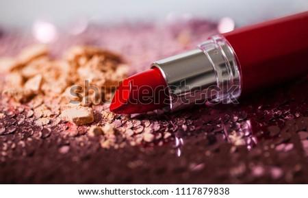 flat lay beautiful modern luxury minimal cosmetic makeup lipstick #1117879838