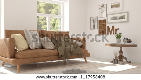 Idea of white room with sofa and summer landscape in window. Scandinavian interior design. 3D illustration #1117958408