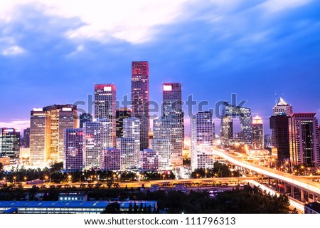 beijing after sunset-night scene of CBD