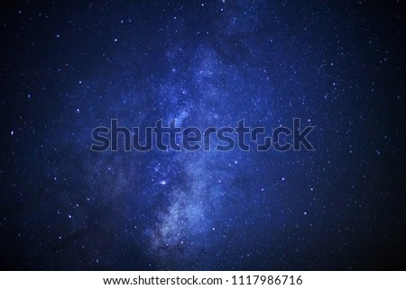 milky way galaxy and space dust in the universe, Long exposure photograph, with grain. #1117986716