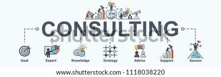 Consulting banner web icon for business, goal, planing, Advice, expert, strategy, support and success. Minimal vector infographic. #1118038220