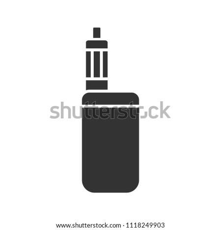 E-cigarette glyph icon. Vaporizer. Vape box mod. Silhouette symbol. Negative space. Raster isolated illustration