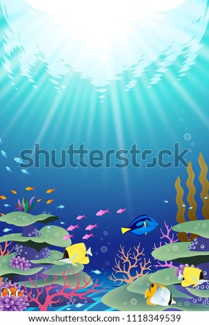 Underwater world with corals and tropical fish #1118349539