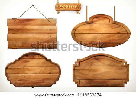 Wooden board, old wood vector set Royalty-Free Stock Photo #1118359874