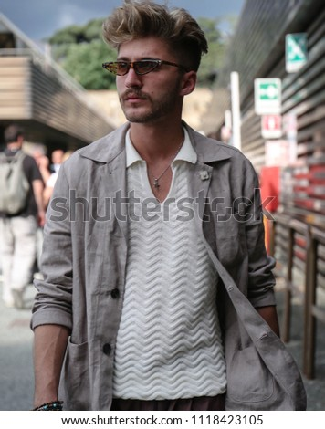 FLORENCE, Italy- June 12 2018:Matteo Simonetti on the street during the Pitti. #1118423105