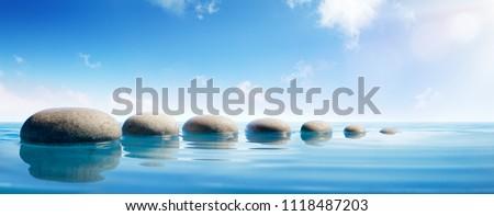 Step Stones In Blue Water - Zen Concept #1118487203