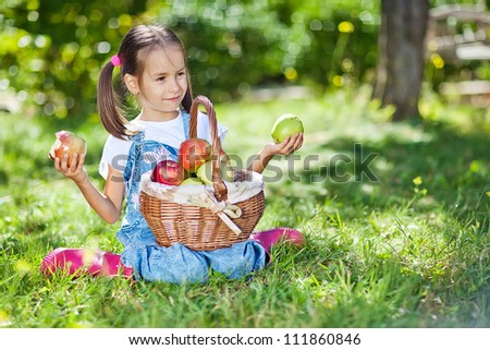 Little girl with fruit. #111860846