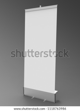 Rollup Banner 3D Rendering is a  professional Rollup Banner Render on a studio background, created with a 3D model of a 85 x 200 cm stand. #1118763986