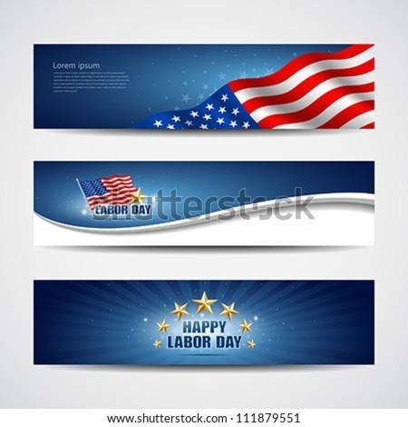 Labor day USA banner design set, vector illustration