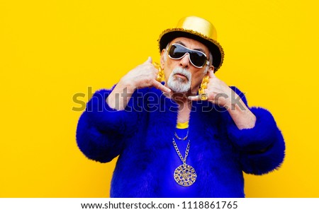 Grandfather portraits on colored backgrounds Royalty-Free Stock Photo #1118861765
