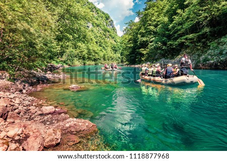 Excursions on inflatable boats along the river Tara. Splendid summer morning in Tara canyon, Montenegro, Europe. Beautiful world of Mediterranean countries. Active tourism concept background. #1118877968