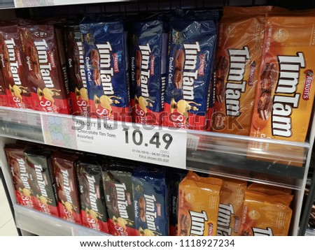 Shah Alam, Malaysia - 14 June 2018 : Assorted of packets ARNOTT'S Tim Tam biscuit chocolate display for sell in the supermarket shelves #1118927234