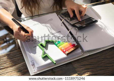 Woman Calculating Invoice With Energy Efficient Chart And House Silhouette In Office #1118975246